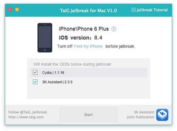Jailbreaking iOS 8.4 iPhone with Mac TaiG tool