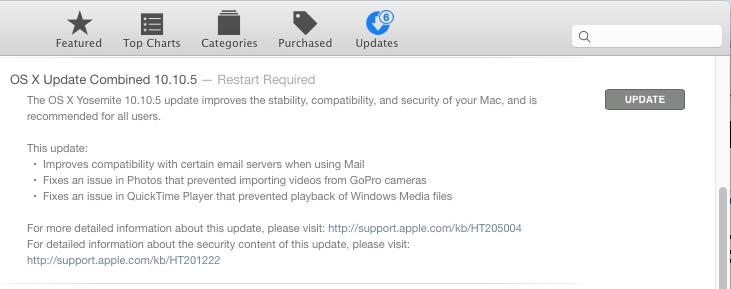 OS X 10.10.5 Yosemite Update