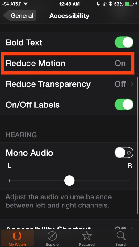 Reduce Motion on Apple Watch through iOS Watch app