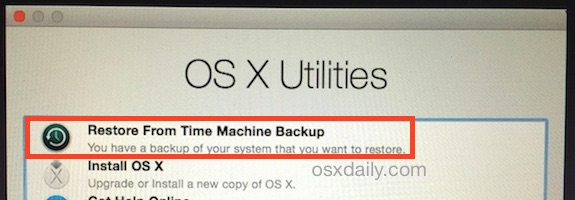 Restore a Mac from Time Machine on boot from Recovery HD