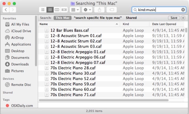 Searching for matches of general file types in Mac OS X