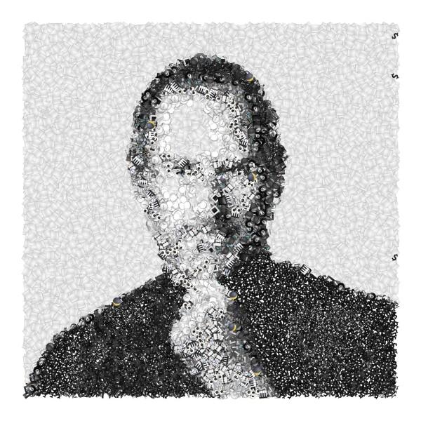 Steve Jobs portrait made from Emoji