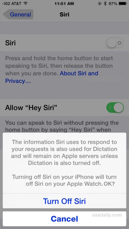 Turn off Siri in iOS as shown on iPhone