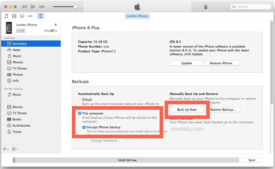 Backup everything encrypted from old iPhone in iTunes