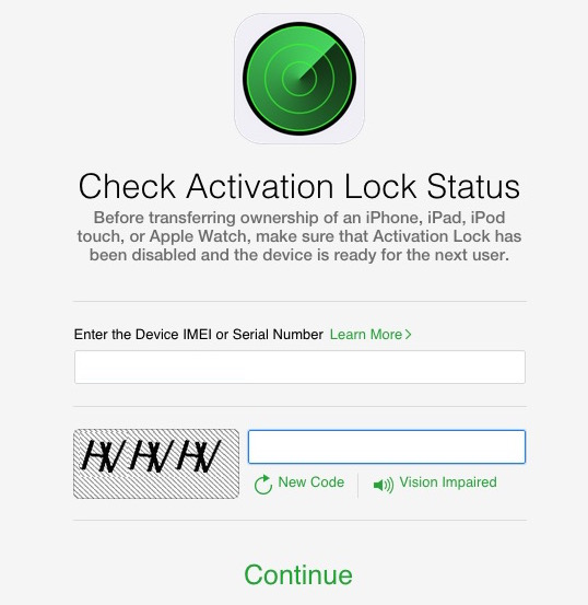 Enter device info to check iCloud activation lock