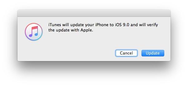 Confirm update with IPSW to iOS 9