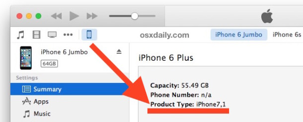 Find iOS device product type number