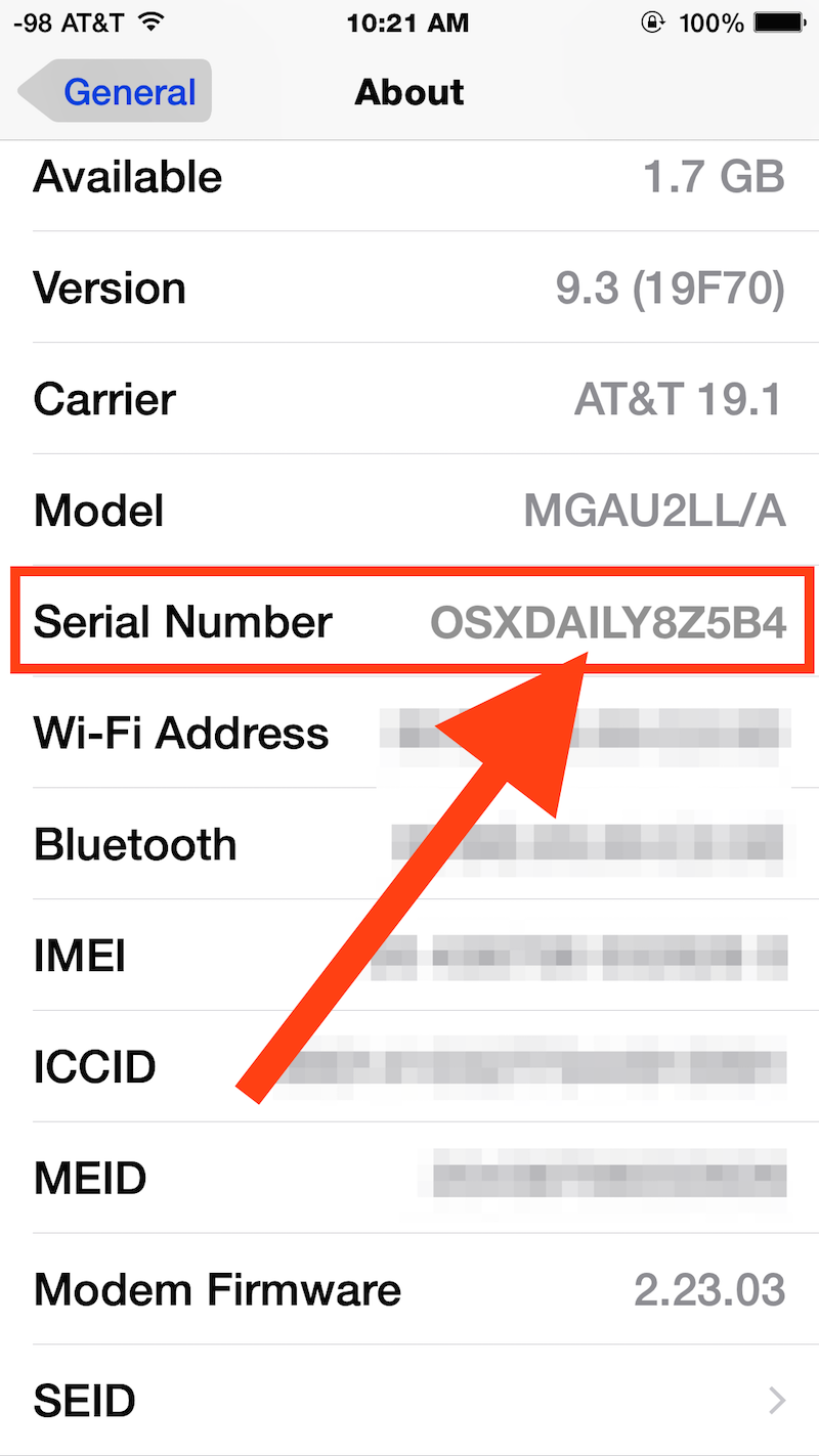 Find an iPhone Serial Number in iOS Settings
