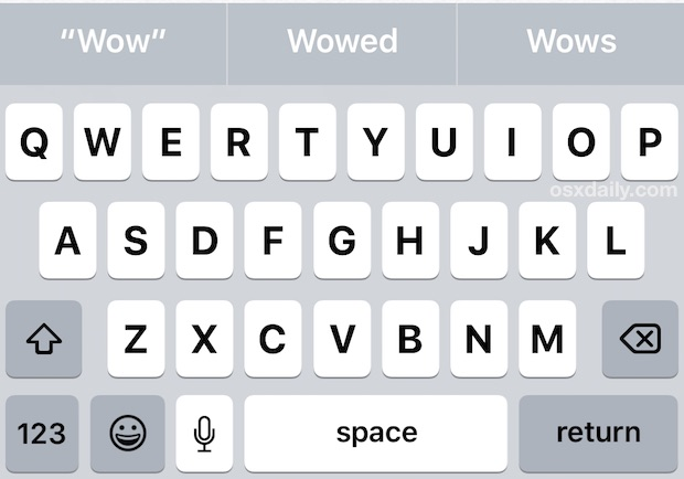 Uppercase keyboard keys on iPhone