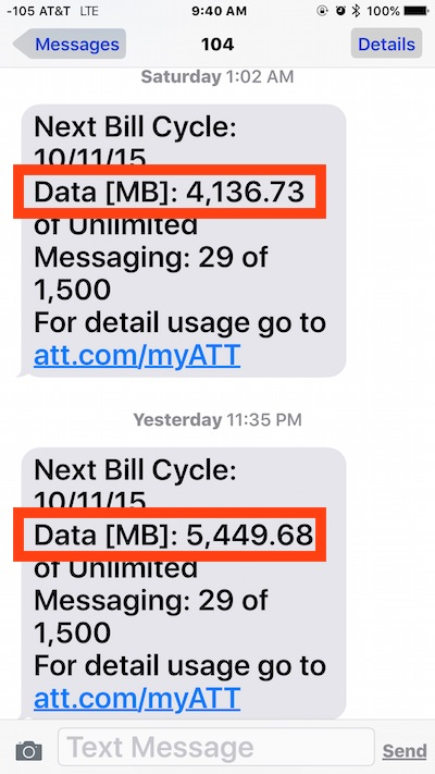 High cellular data usage demonstrated on iPhone