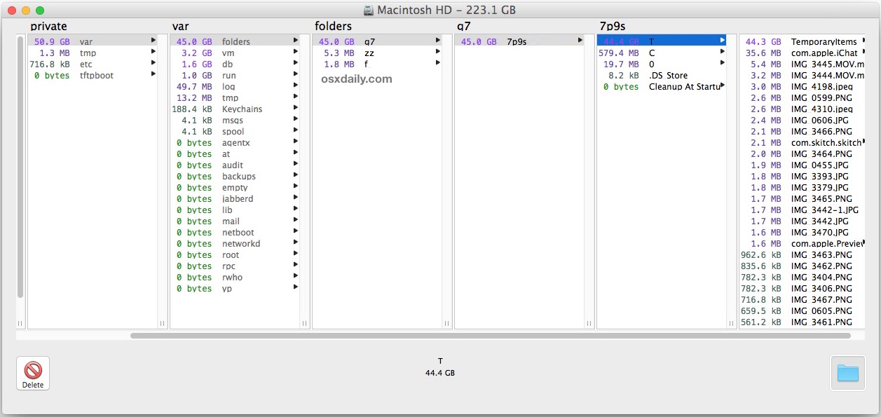 Huge temporary items folder in Mac OS X shown in /private/var/folders/