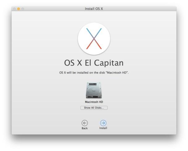 Installing OS X El Capitan