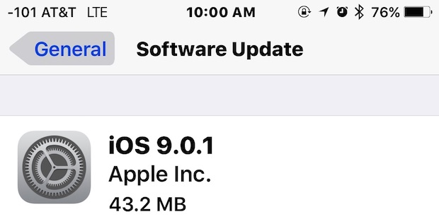 iOS 9.0.1 Update available to download now