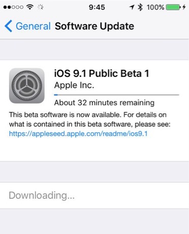 Downloading iOS 9.1 beta 1