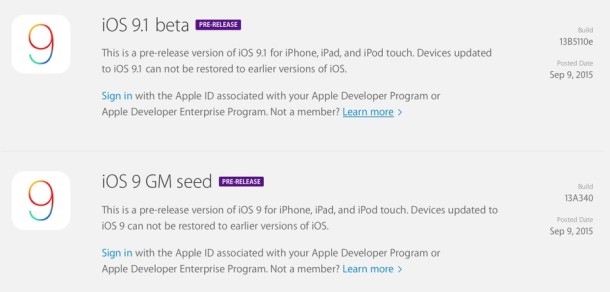 iOS 9 GM and iOS 9.1 beta 1