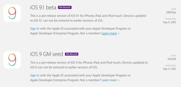 iOS 9 GM and iOS 9.1 beta 1