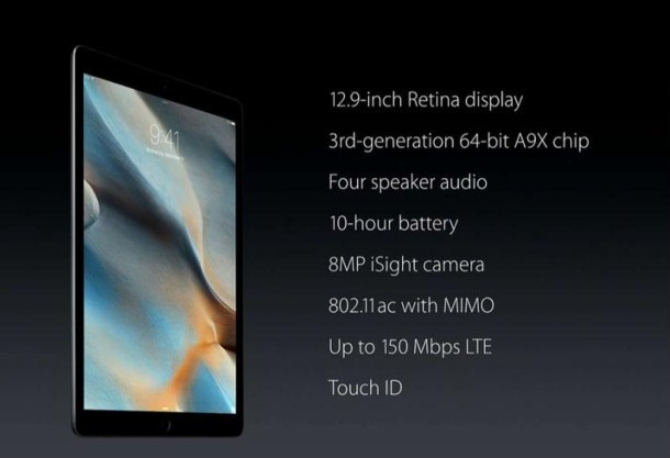 iPad Pro tech specs