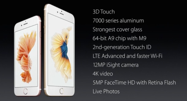 iPhone 6S spec sheet