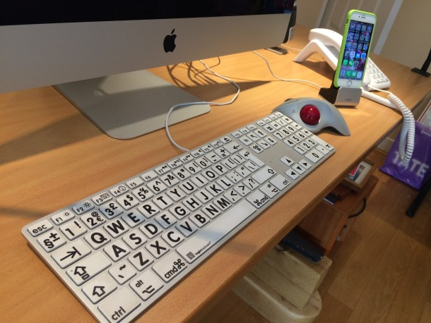 Large Print Keyboard for Apple and Mac and a Logitech trackball