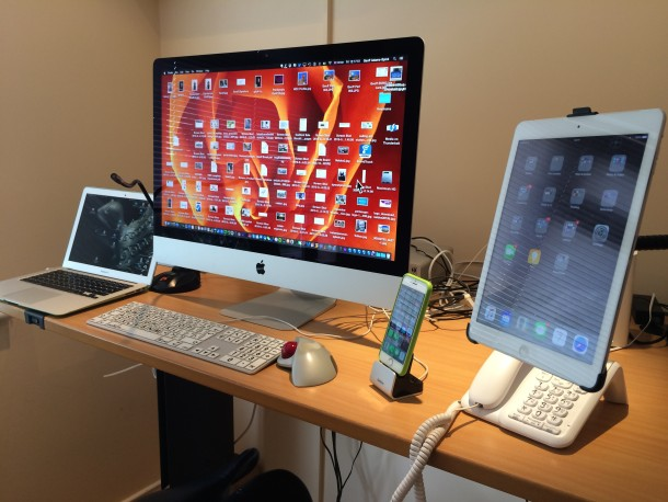 Journalist Mac setup with accessible keyboard