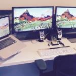 Mac setup, workstation of computer repair and web design business owner
