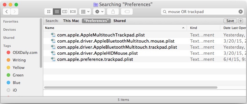 Mouse and trackpad preferences in Mac OS X