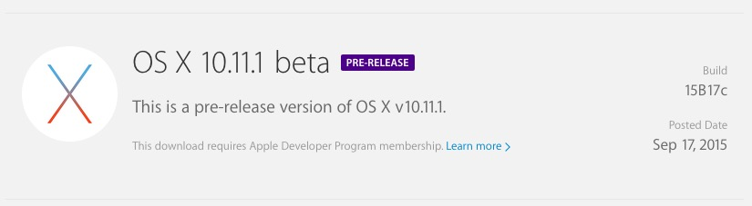 OS X El Capitan 10.11.1 beta 1