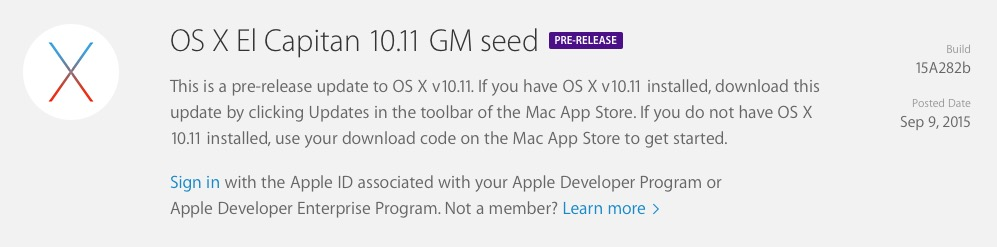 OS X El Capitan 10.11 GM