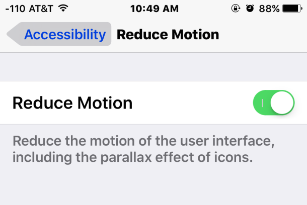 Speed up iOS 9 with reducing motion