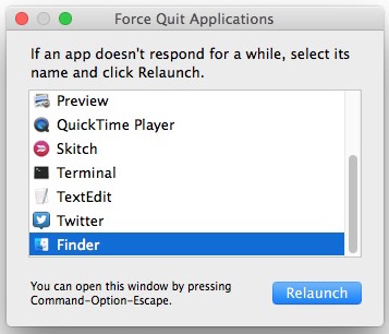 Relaunching the Finder in Mac OS X