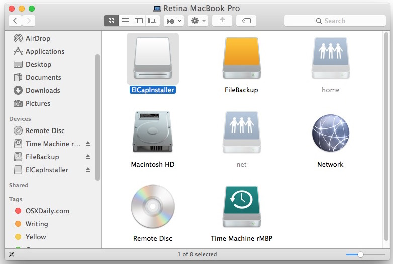 Rename the target USB drive for the OS X El Capitan boot disk to ElCapInstaller