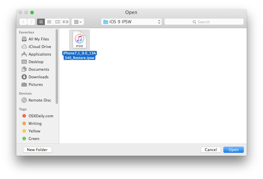 Select the IPSW file to update with in iTunes