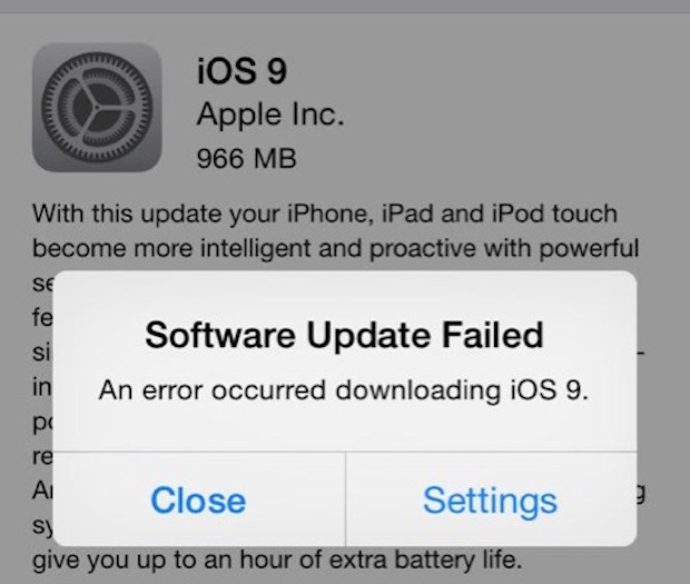 Software update failed error when downloading iOS 9