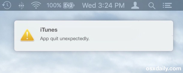 App crash reporter appearing as a notification in Mac OS X