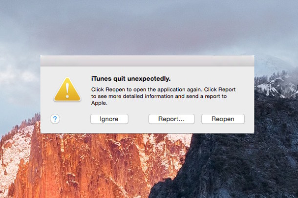 App quit unexpectedly crash report dialog in Mac OS X