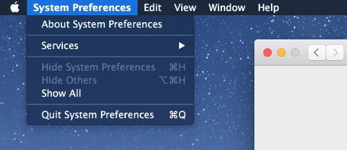 Dark Mode menu bar pull down appearance in OS X Mac x1