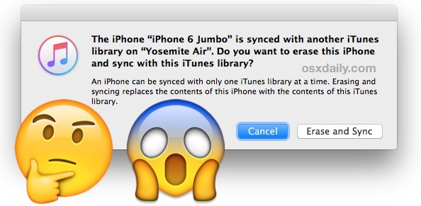 Device synced with another iTunes library, erase and sync? What does this mean and do?