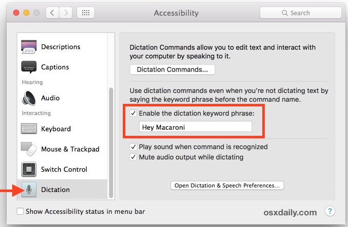 Enable Dictation by voice command in Mac OS X