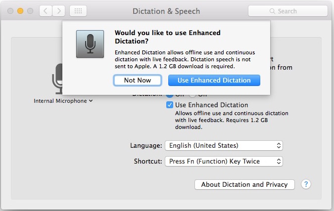 Enable Dictation and Enhanced Dictation in OS X