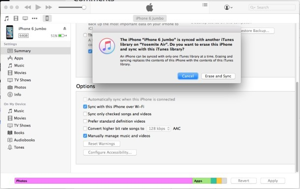 Erase iPhone and sync with iTunes library or not iTunes message