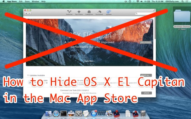 Hide OS X El Capitan from the App Store