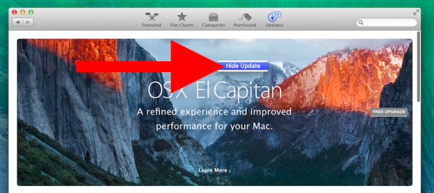 Hide the OS X El Capitan update from Mac App Store