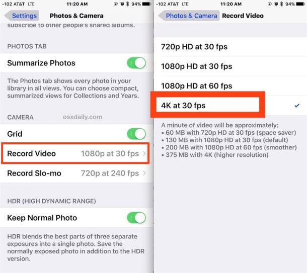 Enabling 4K Video Recording on iPhone Camera