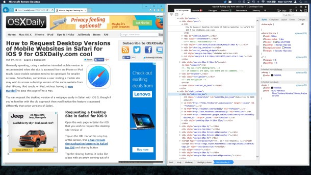 Internet Explorer and IE Web Inspector Tools on Mac OS X
