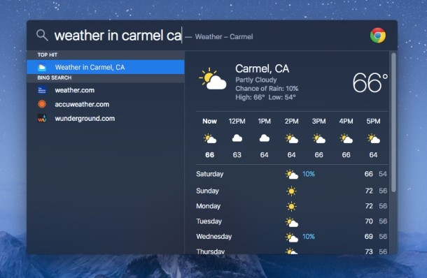 Search Weather in Spotlight for Mac