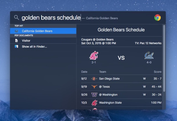 Finding sports team schedule in Spotlight