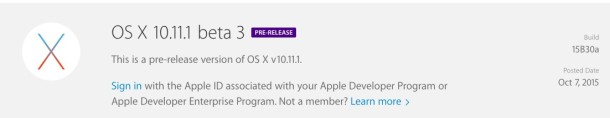 OS X 10.11.1 Beta 3 download