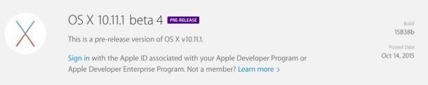 OS X 10.11.1 Beta 4
