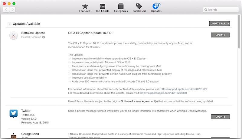 OS X El Capitan 10.11.1 Update