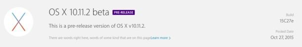 OS X El Capitan 10.11.2 Beta 1